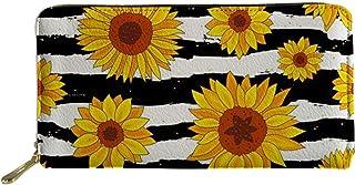 Woisttop - Portafoglio lungo in pelle, da donna, con tasca per porta carte e telefono, Girasole a righe (Multicolore) - Wo...