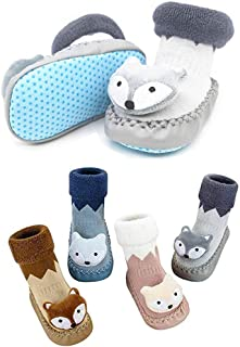 Baby Boys Girls Non-Slip Moccasins Slippers Infants Toddlers Newbron Premium Soft Sole Winter Warm Indoor Socks Shoes