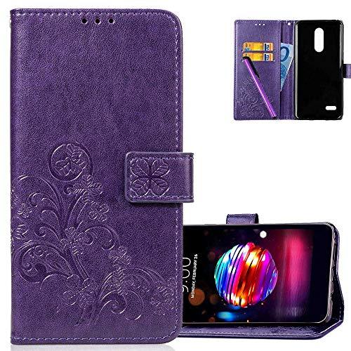 COTDINFOR Etui für LG K10 2018 Hülle PU Leder Cover Schutzhülle Magnet Tasche Flip Handytasche im Bookstyle Kartenfächer Lederhülle für LG K10 2018 Clover Purple SD