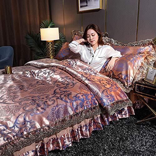 juego de funda nórdica negro,Cubierta de cubierta de nórdicas para niñas Seda rosa como juego de ropa de cama de satén Tapa de microfibra de color sólido tamaño queen con 2 farsas de almohada suave s