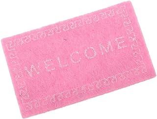 REFURBISHHOUSE Casa de munecas Alfombra Miniatura Bienvenida Alfombra Accesorios de casa de munecas Casa & Vida Tapetes de Escala 1/12 Rosado