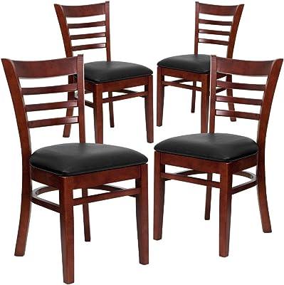 Flash Furniture 4 Pk. HERCULES Series Ladder Back Mahogany Wood Restaurant Chair - Black Vinyl Seat