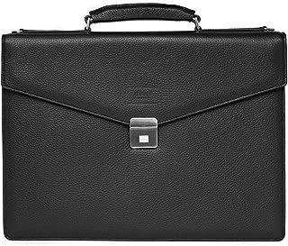 Giorgio Armani Collezioni Men's Matte Grained Leather Briefcase Bag with Shoulder Strap Black