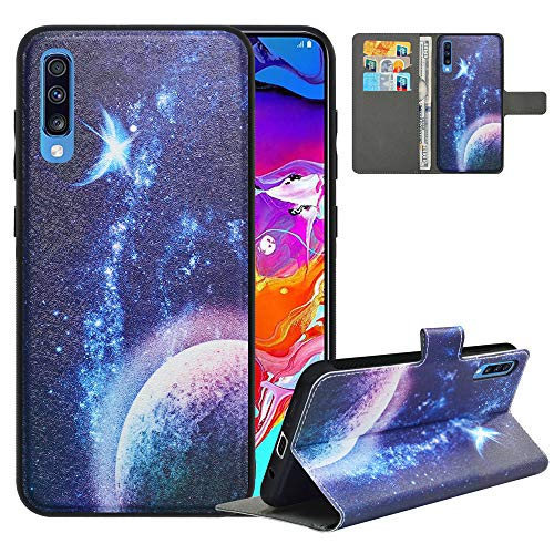 LFDZ Funda Samsung A70 2019,Fundas Galaxy A70 2019 de [2 en 1,Desmontable] PU Cuero Billetera,[Bloqueo de RFID] Libro Antigolpe Magnético Soporte Case Carcasa para Samsung Galaxy A70 2019,Planet