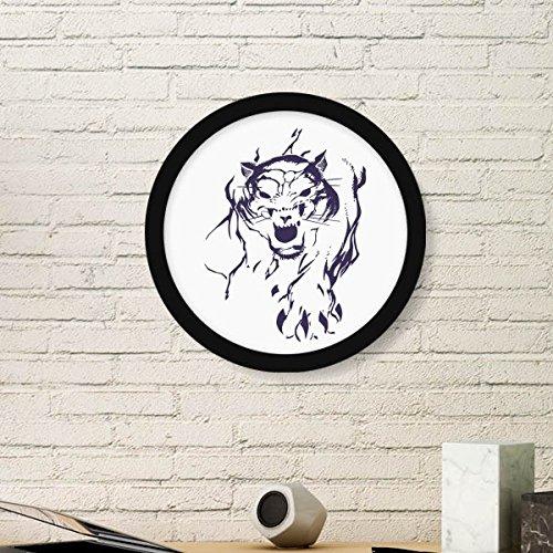 DIYthinker King Tiger Wild Animal Ronda de Fotos Marco de Impresiones del Arte de Las Pinturas Pared del hogar de la Etiqueta del Regalo Medio Negro