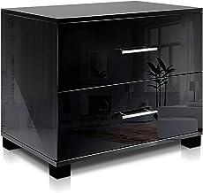 Artiss Bedside Table, High Gloss Wooden Bedside Cabinet, Black