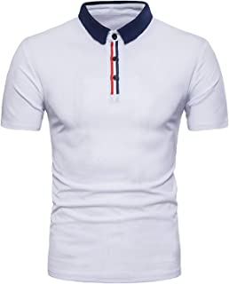 MODCHOK Men's Polo Casual Short Sleeve Shirt Slim Fit Tee Tops Button Neck Collar T with Pocket