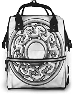 Diaper Backpack Unisex Baby Bags Multifunction Travel Back Pack, Celtic Circular Royal Antique Motif, Large Capacity, Waterproof and Stylish