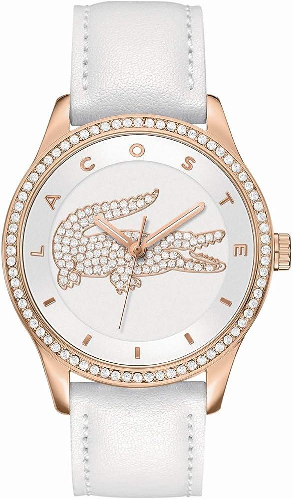 lacoste orologio da donna in acciaio inossidabile e cinturino in pelle 2000821