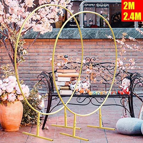 Kaibrite Anciun 2/2.4M Blumen Dekorativ Eisen Ring Kreis Hintergrund Rundbogen DIY Runde Bühne Hintergrund Regal Hochzeit Blume Weihnachten Dekoration 3 Farbe (2, Weiß)