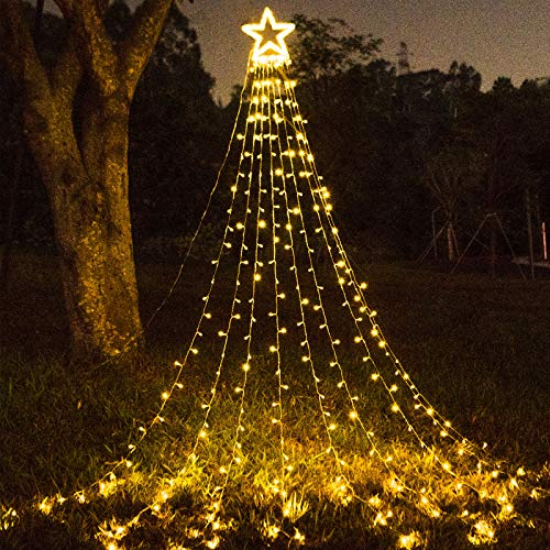 FuNiao Outdoor Christmas Decoration Star String Lights 317 LED Waterfall Christmas Tree Lights Indoor Outside Decoration Christmas Star Lights for Party, Yard, Garden, Holiday, Home Decor (Warm White)