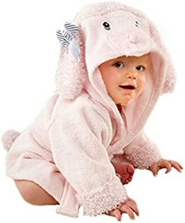 DAN Baby Cotton Cartoon Animal Hooded Towel Bath Robe 1-12 Months(Pink Dog)