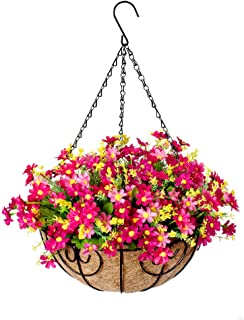 Hanging Flowers Basket, Fall Flower Centerpieces, Artificial Daisy Flowers in 12 inch Coconut Lining Hanging Baskets for T...