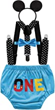 HIHCBF Baby Boys First Birthday Party Outfits Cake Smash Photo Shoot Costume ONE Bloomers Suspenders Bow Tie Headband