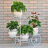 Udfybre 3-Tier-Eisen-Art Blumen-Rack Indoor-Balkon Anti-Rost-Pflanzenständer (weiß/rot Kupfer) (Farbe : Weiß)