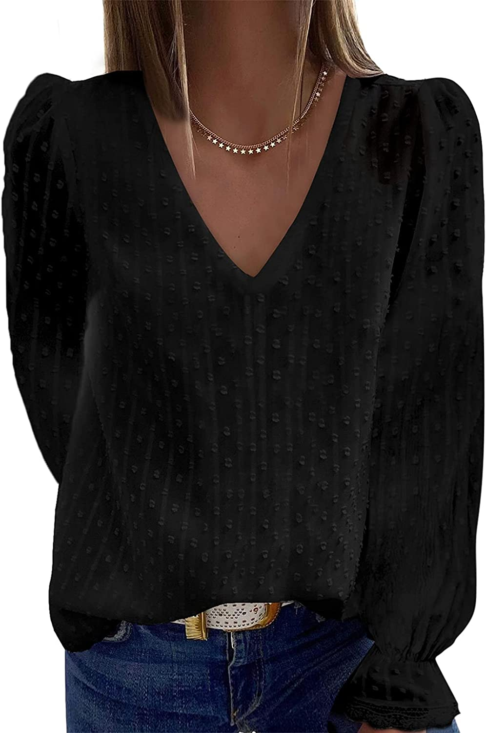 Itsmode Swiss Dot V Neck Blouses for Women Long Sleeve Casual Loose Chiffon Fall Tops