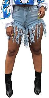 GUOCAI Women Flat-Front Tassles Sexy Shorts Denim Bodycon Denim Shorts Jeans Hot Pants