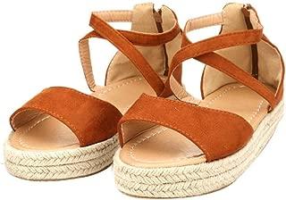 YYW Women's Ankle Strap Criss Cross Platform Wedges Sandals Casual Open Toe Espadrilles Sandals for Summer