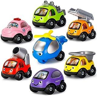 赤ちゃんのおもちゃの車3-6歳の子供たちの漫画引き戻し車セット子供の知育玩具7パック[漫画引き戻し車]