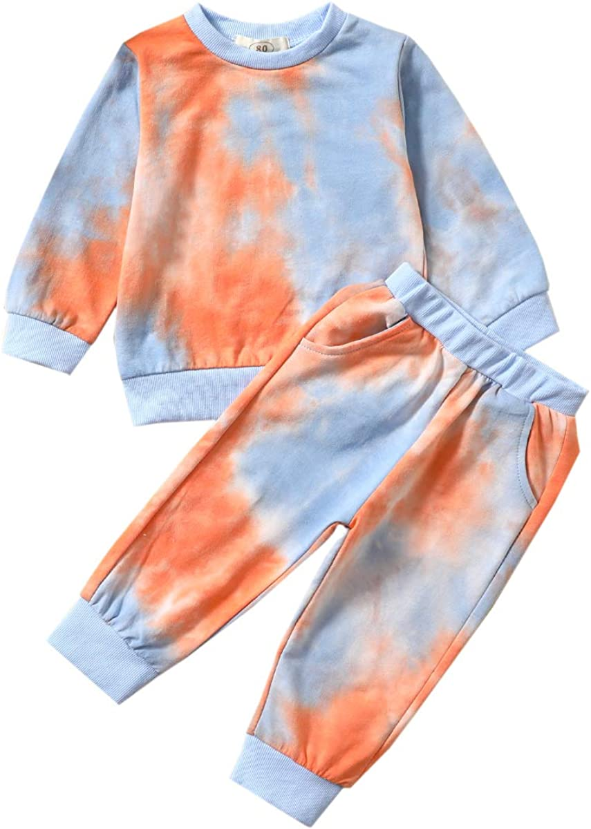 Fall Outfits Set Toddler Baby Boy Girl Long Sleeve Top and Long Pants Baby Sweat Outfit (Tie Dye-Orange Blue, 1-2 T)