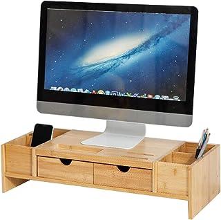 JCNFA Estante Soporte De Monitor De Computadora De Escritorio, Abrazadera De Cuello, Material De Bambú, Con Diseño De Cajo...