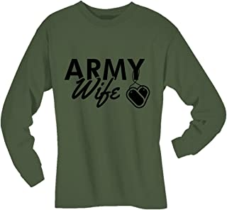 Army Wife Dogtags Long Sleeve T-Shirt in Military Green