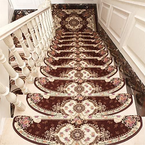 LIVEINU Selbstklebend Stufenmatten Treppen Teppich Halbrund Waschbar Starke Befestigung Anthrazit Klassisch Treppen-Matten 24x80cm (15 Stück) Kaffee