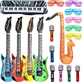Inflatable Rock Star Toy Set, 18 Pack Inflatable Party Props - 4 Inflatable Guitar, 6 Microphones, 6 Shutter Shading Glasses, 1 Saxophone and 1 Inflatable Keyboard Piano Inflatable Rock toys