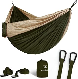 pys Double Portable Camping Hammock with Straps Outdoor -Nylon Parachute Hammock with Tree Straps Set with Max 1200 lbs Breaking Capacity, for Backpacking, Hiking, Travel (Olive Green+Khaki)