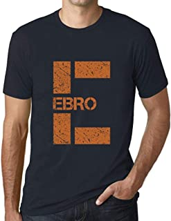 Ultrabasic Men's Graphic T-Shirt Letter E Countries and Cities EBRO Navy