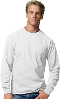 Hanes Tagless Men`s Long-Sleeve T-Shirt with Pocket White