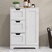 Bathroom Storage Cabinet RASOO White Freestanding Organizer Cabinet for Bathroom, Living Room (one Door and 3 Drawers)