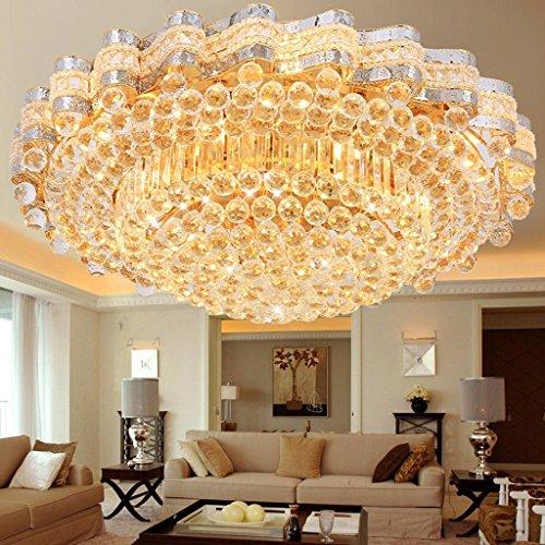 Plafonnier Peaceip Salon de Lampe en Cristal Rond d'or de Chambre à Coucher européenne
