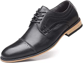 Business Oxfords for Men Casual Loafers Formal Dress Shoes Lace Up Stitch Genuine Leather Pointed Toe Wood-Like Sole Non-slip` Ameyso (Color : Black, Size : 50 EU)