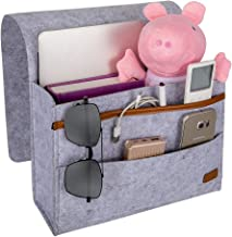 EXECCZO Bedside Caddy for Dorm College Room Bunk Bed, Bed Caddy Storage Organizer Home Sofa Desk Felt Bedside Pocket for Organizing Tablet Pad Magazine Books Phone Chargers Cable(Light Grey)