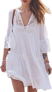 YouKD Women's Boho Tunic Tops Lace Floral Cardigan Swimwear Poncho Summer Beach Dress