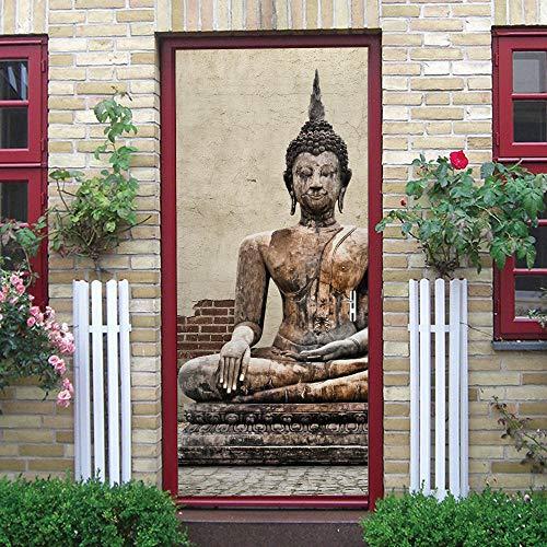 UIMXYZD Murales Para Puertas 3D Para Puertas Papel Pintado Puertas Diy Autoadhesivo Arte De Buda Vintage Desmontable Impermeable Papel Pintado Foto Baño Fotomurales Pared 77X200Cm