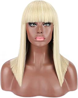 Kalyss Women's Short Straight Blunt Bob Cut Wigs Platinum Blonde Wigs with Hair Bangs Heat Resistant Premium Synthetic Wigs for Women Natural Looking Daily Wear Wig, 18 inches, 0.5lb