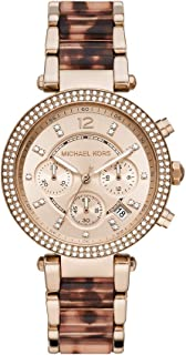 Michael Kors MK6832 Metal Stone Embellished Bezel Round Analog Watch for Women - Gold and Brown