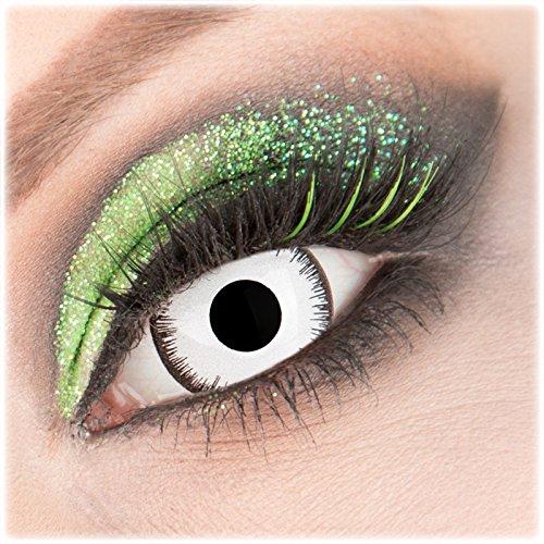 Farbige weiße \'Lunatic\' Mini Sclera Kontaktlinsen 1 Paar Crazy Fun 17 mm mit Behälter zu Fasching Karneval Halloween - Topqualität von \'Giftauge\' ohne Stärke