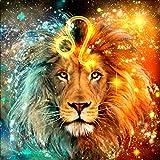 Reofrey 5D Diamond Painting Kit Lion Full Drill, Leo Paint with Diamonds Art Beast Animal Rhinestone Cross Stitch Craft Decor for Home Decoration(35x35 cm/ 14x14 inch)
