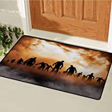 GUUVOR Halloween Commercial Grade Entrance mat Zombies Dead Men Walking Body in The Doom Mist at Night Sky Haunted Theme Print for entrances garages patios W29.5 x L39.4 Inch Orange Black