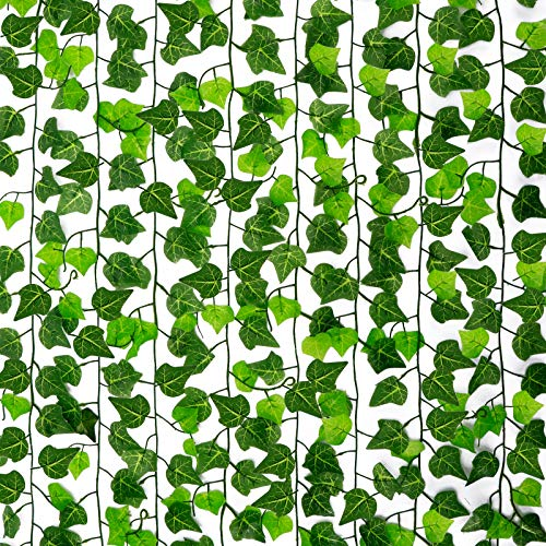 CEWOR 16 Pack 126ft Artificial Ivy Garland Vine Fake Greenery Leaf Hanging Plants for Wedding Party Home Garden Kitchen Wall Office Outdoor Decor