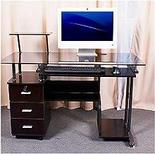 LJBH Computer desk, 1 meter 2 tempered glass computer desk, desktop home, simple desk, stylish writing desk, 120 * 60, bla...