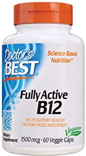 Doctor's Best Fully Active B12 1500 mcg, Non-GMO, Vegan, Gluten Free, Supports Healthy Memory, Mood and Circulation, 60 Ve...