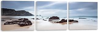 Feeby Frames, Cuadro en Lienzo - 3 Partes - Panorámico, Cuadro impresión, Cuadro decoración, Canvas 120x40 cm, Rocas, Agua, MAR, Paisaje, Vista, Azul, Negro, MARRÓN