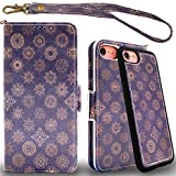 MEFON Detachable Leather Wallet Phone Case, with Tempered Glass and Wrist Strap, Enhanced Magnetic Closure, Durable Slim, Luxury Flip Folio Cases for Apple iPhone 8 7, 6S 6, 4.7 inch (Mandala 1)