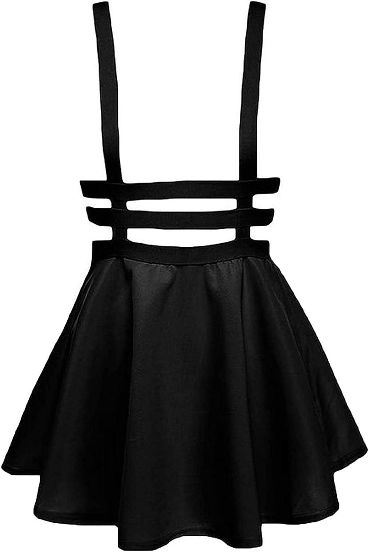 Knemksplanet Womens Elastic Waist Suspender Skirt A-Line Mini Skirt