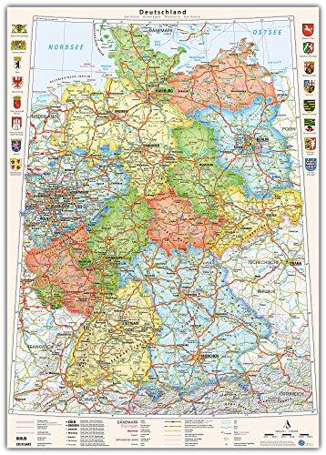 J.Bauer Karten Poster Deutschland-Karte politisch Bundesländer, 70 x 100 cm, mit Wappen und Relief-Schummerung