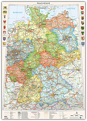 J. Bauer Kaarten Duitsland-kaart Poster: 70 x 100 cm Politisch (bondslanden).